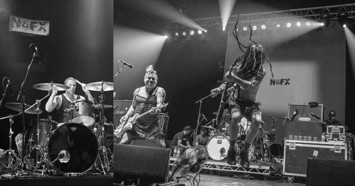 NOFX and their old and new gig backdrops performing in London in 2012 and 2015.