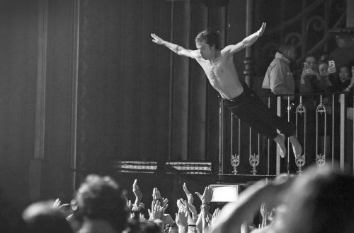 Cage The Elephant's Matt Shultz diving into the crowd at their gig in London in 2016.